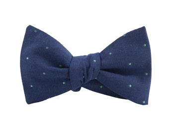 Bow Tie Blue and Green Dot/ bow ties for men/Men's Ties/Gifts For Men/wedding bow tie/groomsmen bow ties/mens bowties/blue tie/green bow tie