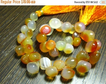 "BIG SALE Orange Shaded Colour Chalcedony Smooth Onion 8"" Strand -Stones measure-7-10mm"