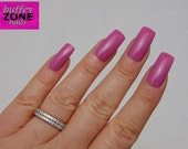 WIDE FIT Hand Painted Press On Nails, Long Length, Bubble Gum Pink