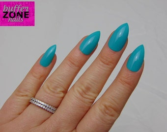 Hand Painted Press On False Nails, Bright Turquoise, Long Length Stiletto