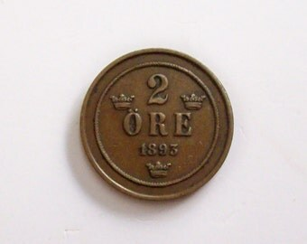 Vintage Sweden 2 Ore 1893 coin. Coat of Arms, Crowns. art. 1268. Very rare coin.  For collectors.   diameter: mm.21.antique coin.