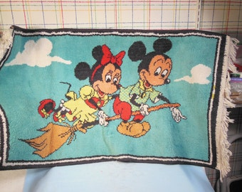 "Vintage-1930s-Mickey And Minnie Mouse Riding On A Broom-Rug-21 1/2"" High by 37"" long"