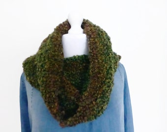 Green ladies snood, green hand knit cowl scarf,green mix knitting scarf.