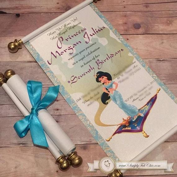 Disney Princess Jasmine Scroll Invitation Aladdin Birthday – Princess Scroll Birthday Invitations