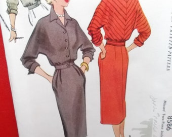 UNCUT and FF Pattern Pieces Vintage McCalls Sewing Pattern 8586 Two Piece Jacket Dress  Size 14 Bust 32