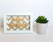 Goal Digger Wall Art, Scrabble Inspired Frame, Scrabble Inspired Word Art, Fabric Art, Scrabble Inspired Gift
