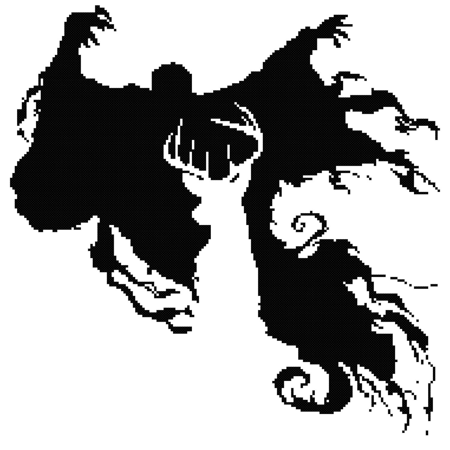 The stag and dementor cross stitch pattern kit for Dementor coloring pages
