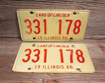 Illinois License Plate 1966 Set or Single Red and White 331 178