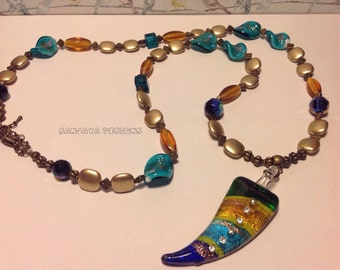 Beautiful Beaded Necklace with Murano Glass Focal