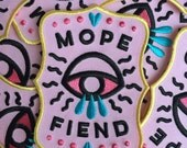 Iron on patch // Mope Fiend // Funny embroidered patch for jacket