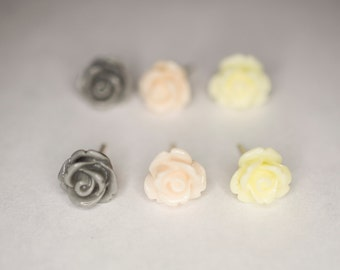 Gray, Pale Pink, & Pale Yellow Rose Earring Set