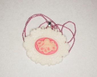 Pink & White Octopus Cameo Necklace