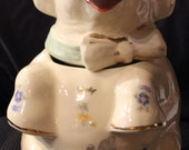 Vintage 1940s Era Shawnee Pottery Company-Manufactured 'Lucky the Elephant' Cookie Jar w/ Gold Trim Floral-Themed Decals