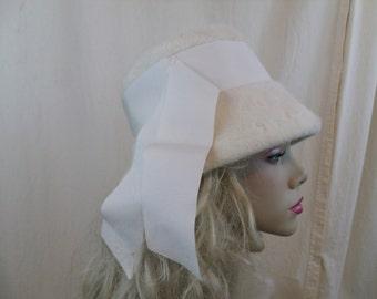 Vintage 50s 60s White Fur Asymmetrical Cloche Hat