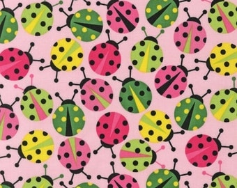 Fabric by the Yard Robert Kaufman, Lady Bugs, AAK-11504-192 pink, 1 yd