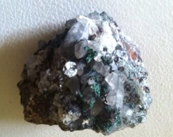 Specimen of Copper(Malachite) with Smoky Quartz Crystals