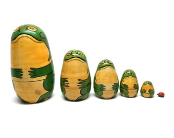 Nesting Doll, Frog, Nesting Frogs, Russian, Handmade, Wood, Carved, c1970, Set of 6