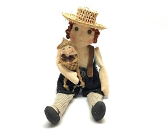 Handmade Doll, Raggedy Ann and Andy, OOAK, Primitive, Folk Art, Miniature, Art Doll, Humpty Dumpty, Storybook, Fairy tale