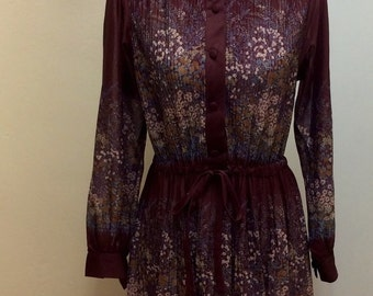 Long sleeved folk style 70's button up pleated dress