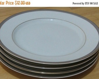 """SUMMER SALE Royal Limited """"Dynasty"""" Set of Four Salad Plates in Taupe"""