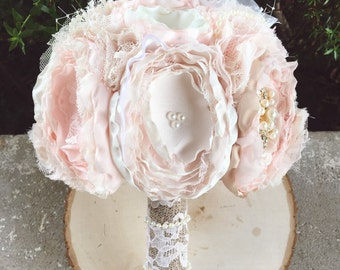 Rose gold brooch bouquet, rose gold bouquet, fabric bouquet, blush fabric flower bouquet
