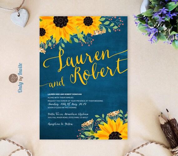 Cheap Blue Wedding Invitations: Sunflower Wedding Invitation Cheap Chalkboard Wedding Cards