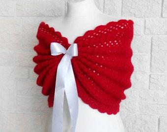 Bridal Shawl, Wedding Wrap, Scarlet Red Bridal Cover Up, Wedding Bolero, Red Shrug, Crochet Shawl Red Capelet, Bridal Cape, Bridesmaid Shawl