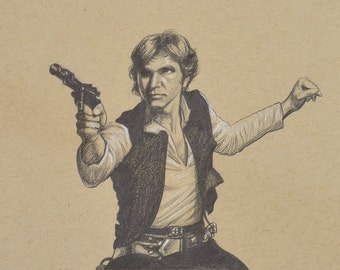 ORIGINAL DRAWING Star Wars Han Solo Father's Day Gift Pencil Pastel Geek Gift Portrait 5 x 7 Inches