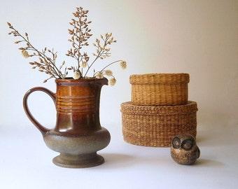 Vintage Pottery Milk Jug or Creamer.Stoneware Jug.Rustic Brown Jug.Glazed Pottery.1970s.