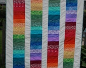 Colorful Rainbow Child's or Lap Quilt