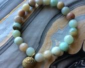 Multi-Amazonite Stretch Bracelet with African Brass Bead