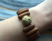 Natural Brown Wood and African Brass Stretch Bracelet