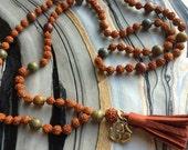 Rudraksha and Jasper Mala Prayer Bead Necklace with Brass Ohm Charm and Leather Tassel
