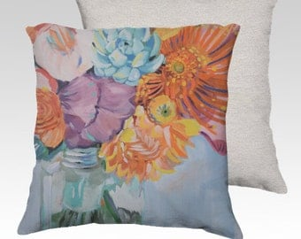 Vibrant flowers pillow
