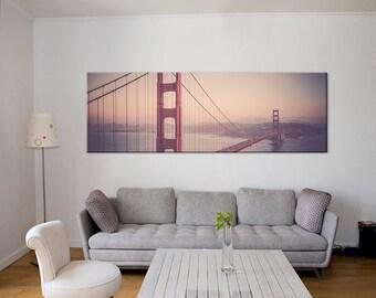 San Francisco Golden Gate Bridge canvas art/skyline photography/personalized art decor/oversized art/large wall art canvas/pink