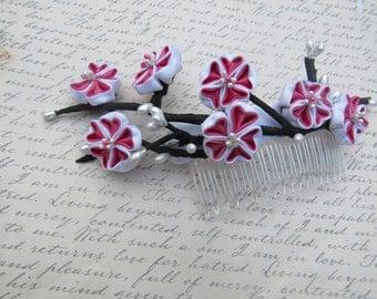 Kanzashi Sakura Blossom Hair Comb, Cherry Blossom Hair comb
