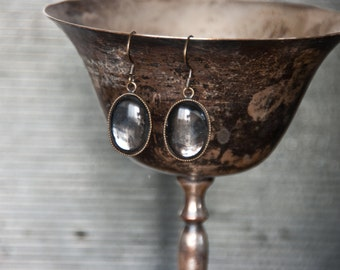 Glass Mirror Dangle Earrings - Antiqued Mirror Cabochons with Silver Setting - Modern Urban Fantasy Steampunk Gothic.