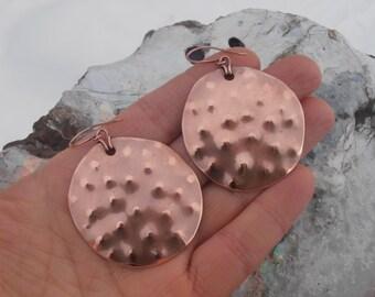 Handmade copper metal earrings