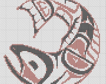 Haida Salmon Pacific North West Cross Stitch Pattern PDF
