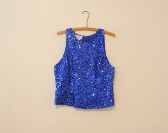 Blue Sequined Top - 1980s