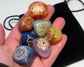 7 Chakra Tumbled Crystal Stone Set With Chakra Symbols
