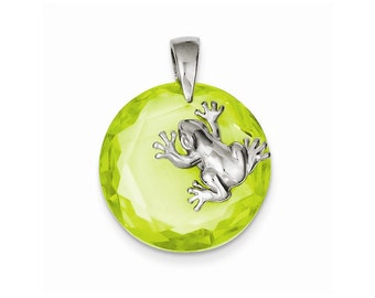 Sterling Silver Green CZ Frog Pendant
