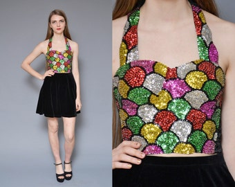 Sequin Top 1980's Colorblock Sequin Bustier Crop Shirt Halter Top Rainbow COLORFUL Ornate NYE Party Shirt Statement Corset S M