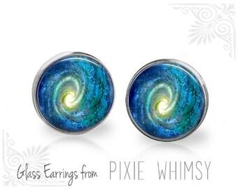 SPIRAL GALAXY Earrings, Galaxy Stud Earrings, Galaxy Post Earrings, Stud Earrings, Pierced Earrings, Spiral Galaxy Jewelry, Galaxy Studs