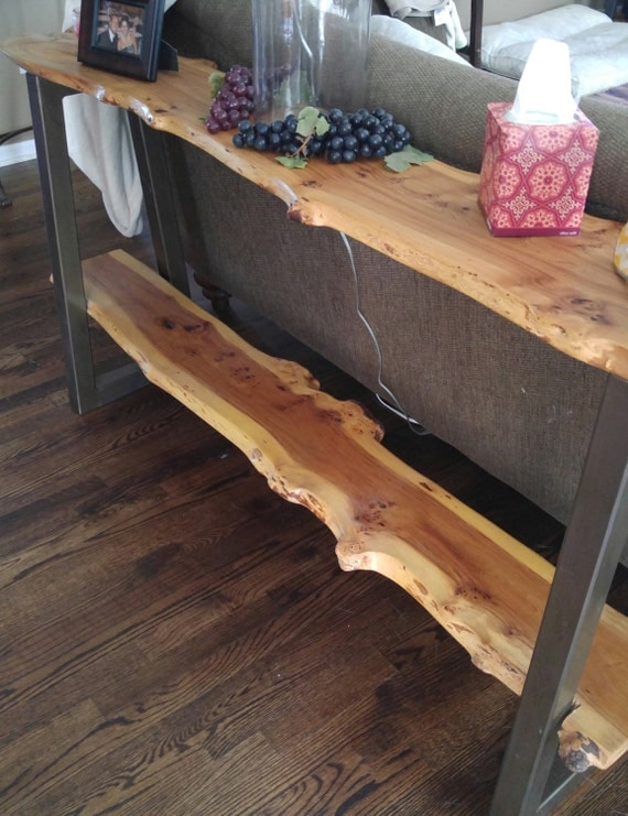 Live edge double decker sofa table by wickedgrain on etsy for Table th bottom
