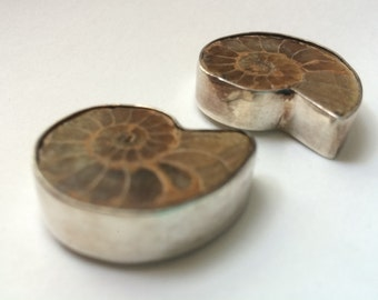 Handmade Sterling Silver Ammonite Post Earrings