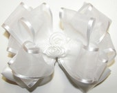 White Hair Bow, Organza Satin Rose Clip, Girls Baby Toddler Accessories, Communion Hairbows, Baptism Bows, Barrette Clips, Dance, Pageant