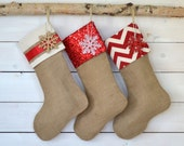 Holiday Sale!!! Burlap Stockings Set of 3 - Red & Ivory Collection - Christmas Stockings, Red Stockings, Stockings