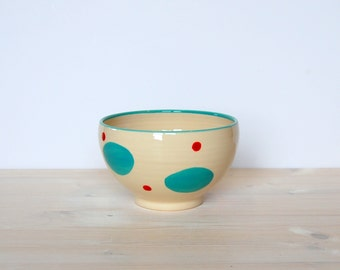 Polka dot bowl Ceramic bowl Breakfast bowl Blue and red bowl Serving breakfast Pottery bowl Clay bowl Modern ceramic Colorful pottery