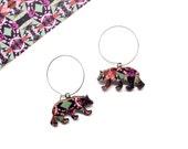 Bear Hoop Earrings - Bear Earrings -  Gifts For Women - Gifts For Mum - Animal Earrings - Animal Jewellery - Wooden Bears - Modern Earrings
